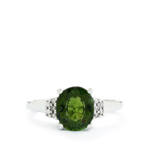 Green Tourmaline & Diamond 14k White Gold Tomas Rae Ring ATGW 2.38cts