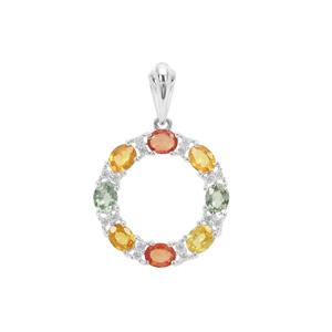 Songea Rainbow Sapphire Pendant with White Zircon in Sterling Silver 2.75cts
