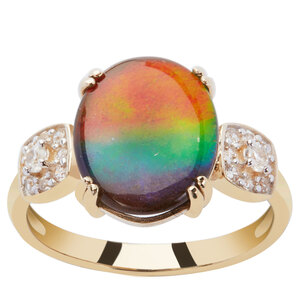 AA Ammolite Ring with White Zircon in 9K Gold (12.00 x 9.50mm)
