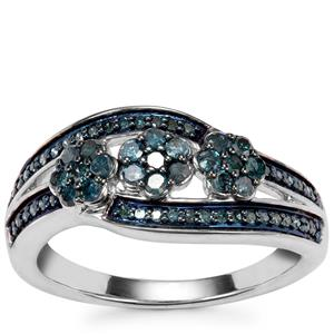Blue Diamond Ring in Sterling Silver 0.50ct