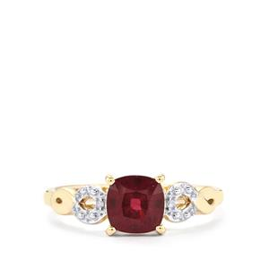 Malawi Garnet Ring with Diamond in 10K Gold 1.58cts
