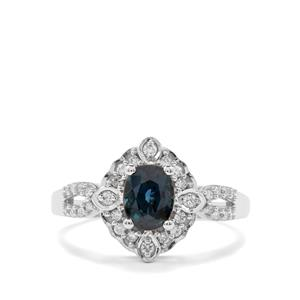 Natural Nigerian Sapphire Ring with Diamond in 18K White Gold 1.27cts