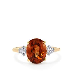 Zanzibar Sunburst Zircon & Diamond 14K Gold Tomas Rae Ring ATGW 5.53cts