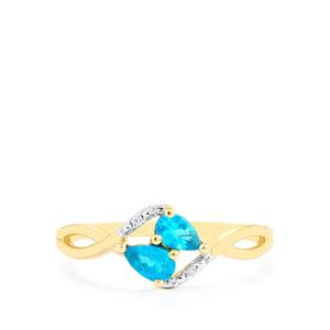 Neon Apatite Ring with White Zircon in 10k Gold 0.43ct