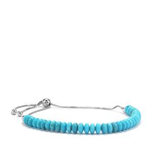 17ct Sleeping Beauty Turquoise Platinum Plated Sterling Silver Graduated Bead Slider Bracelet