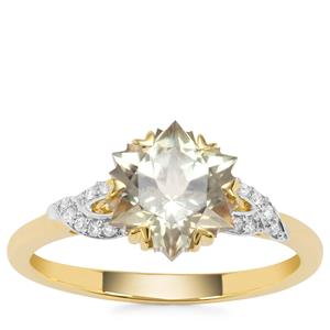 Wobito Snowflake Cut Csarite® Ring with Diamond in 18K Gold 2.27cts