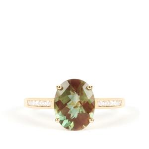 Green Andesine Ring with White Zircon in 9K Gold 2.12cts