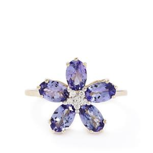 AA Tanzanite & White Zircon 10K Gold Ring ATGW 2.45cts