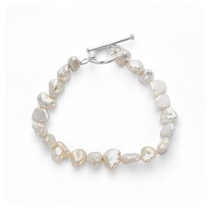Baroque Cultured Pearl Bracelet in Sterling Silver (8 x 6mm)