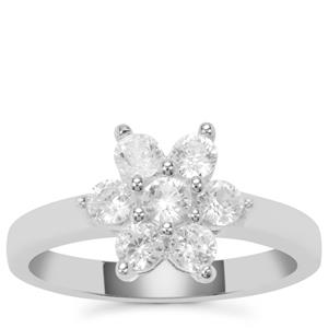 White Zircon Ring in Sterling Silver 1.12cts