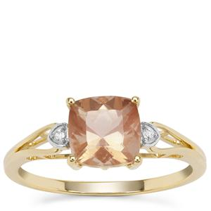 Peach Parti Oregon Sunstone Ring with White Zircon in 9K Gold 1.39cts