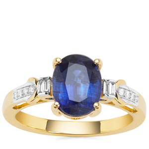Nilamani Ring with Diamond in 18K Gold 3.13cts