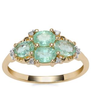 Paraiba Tourmaline Ring with Diamond in 10K Gold 1.08cts