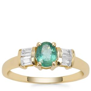 Zambian Emerald Ring with White Zircon in 9K Gold 1cts