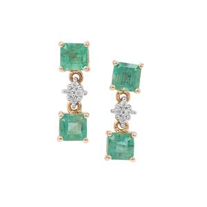 Zambian Emerald Earrings with White Zircon in 9K Gold 1.92cts