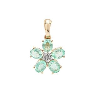 Malysheva Emerald & White Zircon 9K Gold Tomas Rae Pendant ATGW 1.54cts