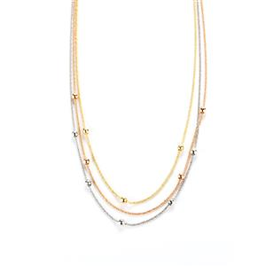 """16.5"""" - 18"""" Three Tone Gold Plated Sterling Silver Necklace"""