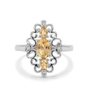 Diamantina Citrine & White Zircon Sterling Silver Ring ATGW 1.07cts