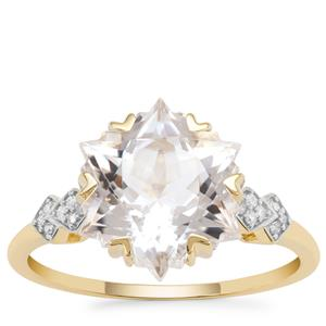 Wobito Snowflake Cut Itinga Petalite Ring with Diamond in 9K Gold 3.79cts