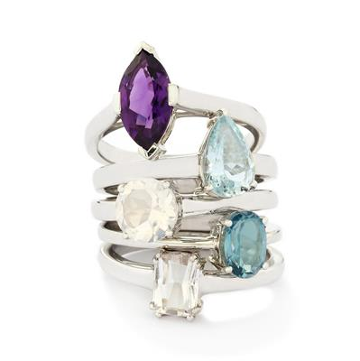 MULTI GEMSTONES STERLING SILVER SET OF 5 RINGS ATGW 6.31CTS