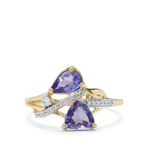 AA Tanzanite & White Zircon 9K Gold Ring ATGW 1.28cts