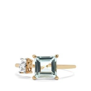 Espirito Santo Aquamarine Ring with White Zircon in 10K Gold 1.41cts