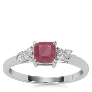 Ruby Ring with White Zircon in Sterling Silver 1.21cts