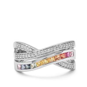 Tunduru Multi-Colour Sapphire & White Zircon Platinum Plated Sterling Silver Ring ATGW 1.15cts