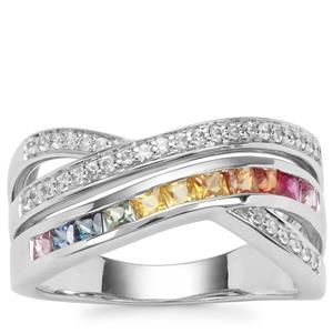 Tunduru Multi-Colour Sapphire Ring with White Zircon in Platinum Plated Sterling Silver 1.15cts