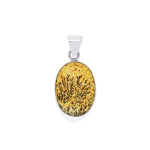 Manganese Dendrite Pendant in Sterling Silver 17cts
