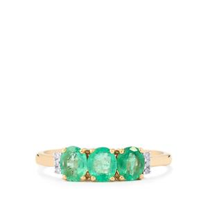 Zambian Emerald Ring with Diamond in 10k Gold 1.08cts