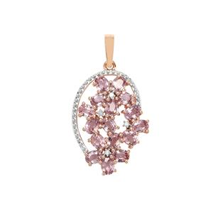 Sakaraha Pink Sapphire Pendant with Diamond in 9K Rose Gold 3.90cts