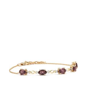 Mahenge Purple Spinel Bracelet with White Zircon in 10k Gold 2.53cts
