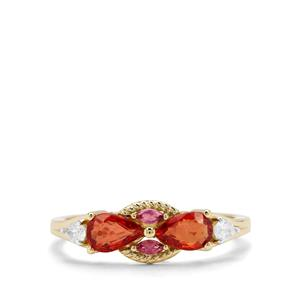 Songea Ruby, Pink Tourmaline & White Zircon in 9K Gold Ring 1.18cts