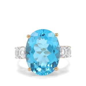 Swiss Blue Topaz Ring with White Zircon in 10K Gold 13cts