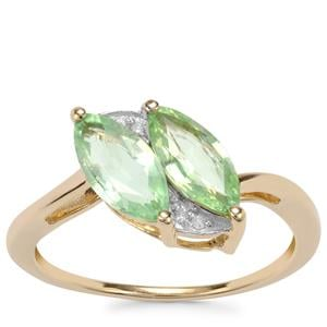 Paraiba Tourmaline Ring with Diamond in 10K Gold 1.20cts