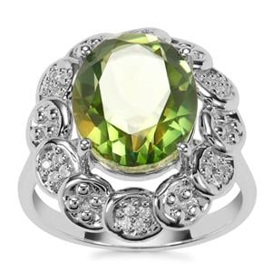 Fern Green Quartz Ring with White Zircon in Sterling Silver 4.81cts