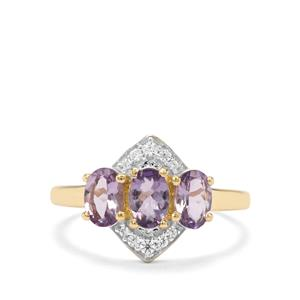Mahenge Purple Spinel & White Zircon 9K Gold Ring ATGW 1.46cts