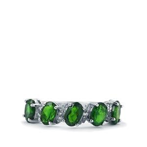 Chrome Diopside & White Topaz Sterling Silver Ring ATGW 2.77cts