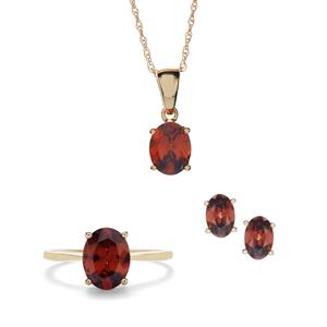 6.63ct Zanzibar Sunburst Zircon 10K Gold Set of Ring, Earrings, Pendant and Chain