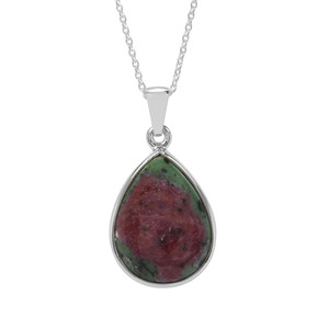 Ruby-Zoisite Pendant Necklace in Sterling Silver 14.19cts