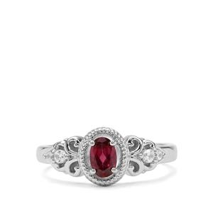 Rajasthan Garnet & White Zircon Sterling Silver Ring ATGW 0.62cts