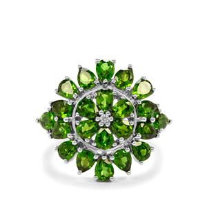 Chrome Diopside & White Zircon Sterling Silver Ring ATGW 3.70cts
