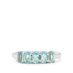 Madagascan Blue Apatite Ring  in Sterling Silver 1.26cts