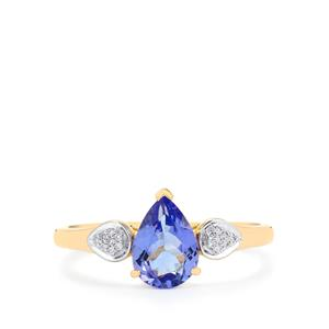 AA Tanzanite Ring with Diamond in 14K Gold 1.15cts
