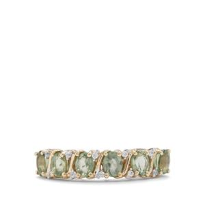 Tanzanian Green Sapphire Ring with White Zircon in 9K Gold 1.62cts