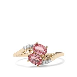 Sakaraha Pink Sapphire Ring with Diamond in 9K Gold 1.26cts