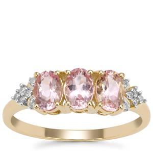 Cherry Blossom™ Morganite Ring with Diamond in 9K Gold 1.26cts