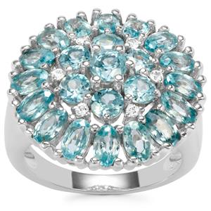 Ratanakiri Blue Zircon Ring with White Zircon in Sterling Silver 7.55cts