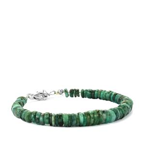 56.50ct Emerald Sterling Silver Graduated Bead Bracelet
